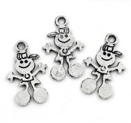 10 x Antique Silver Boy With Cap Charm Pendants